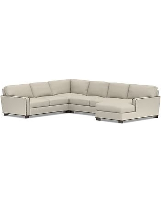 Turner Square Arm Upholstered Left 4-Piece Chaise Sectional with Bronze Nailheads, Down Blend Wrapped Cushions, Sunbrella(R) Performance Boss Herringbone Pebble