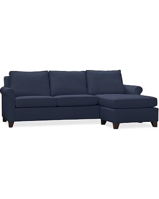 Cameron Roll Arm Upholstered Sofa with Reversible Chaise Sectional, Polyester Wrapped Cushions, Twill Cadet Navy