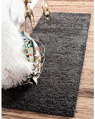 Unique Loom Solo Solid Shag Collection Modern Plush Graphite Gray Runner Rug (2' 2 x 6' 5)