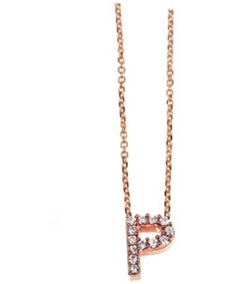 Annello by Kobelli Rose Gold Small Dainty Personal Initial A-Z Letter Diamond 10k Pendant (14k Chain) (P)