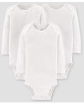 Baby 3pk Long Sleeve Bodysuit - Just One You made by carter's White Newborn