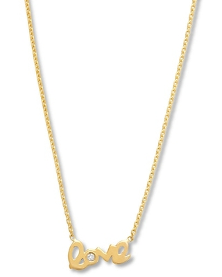 """Jared The Galleria Of Jewelry Love Bar Necklace Diamond Accent 14K Yellow Gold 16"""""""