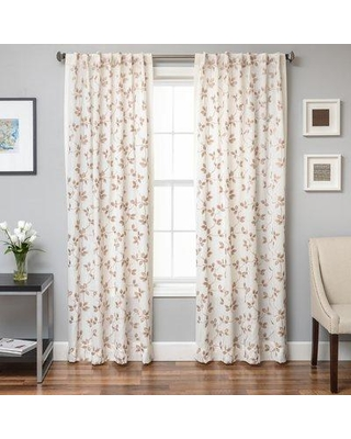 "Softline Home Fashions Adelle Nature/Floral Semi-Sheer Tab Top Single Curtain Panels 924ALB460BTUL Size per Panel: 55"" W x 84"" L Color: Latte"