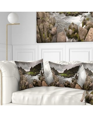 Designart 'Dramatic Oxarafoss Waterfalls' Abstract Throw Pillow (Square - 16 in. x 16 in. - Small)