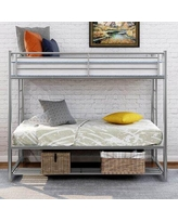 Savanah Twin Over Twin Standard Bunk Bed w/ Shelves by Isabelle & Max™ Metal in White, Size 41.0 W x 78.0 D in   Wayfair