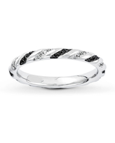 Black & White Diamond Stackable Ring 1/5 ct tw Sterling Silver