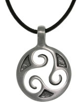 Pewter Unisex Celtic Triskelion Spiral Black Leather Cord Necklace (White - 20 Inch)