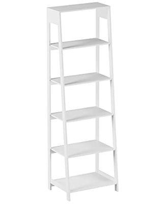 5-Tier Ladder Bookshelf - Freestanding Wooden Bookcase, Frame and Leaning Look - Decorative Shelves for Home and Office Storage by Lavish Home (White)