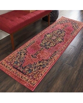 """World Menagerie Lundy Traditional Medallion Pink/Yellow Area Rug BF124367 Rug Size: Runner 2'2"""" x 7'6"""""""