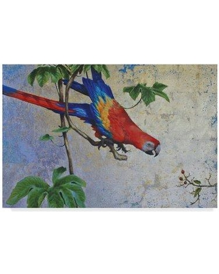 "World Menagerie 'Parrot Over Blue' Acrylic Painting Print on Wrapped Canvas WRME2859 Size: 30"" H x 47"" W x 2"" D"