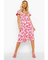 Womens Floral Puff Sleeve Tie Front Midi Dress - Pink - 6