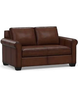 """York Roll Arm Leather Loveseat 63"""" with Bench Cushion, Polyester Wrapped Cushions, Burnished Walnut"""