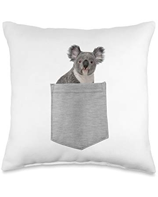 Animal in Your Pocket Young Koala Throw Pillow, 16x16, Multicolor