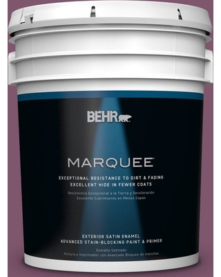 BEHR MARQUEE 5 gal. #M110-7 Euphoric Magenta Satin Enamel Exterior Paint and Primer in One