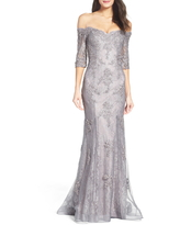 La Femme Off the Shoulder Lace Mermaid Gown, Size 0 in Pink/Gray at Nordstrom