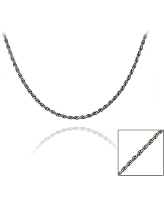 Mondevio Black Rhodium Over Silver 24-inch Twisted Rope Chain Necklace (KDR30-24)