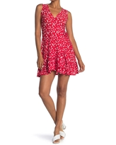 ALL IN FAVOR Surplice Floral Ruffle Hem Mini Dress, Size X-Large in Red Ivory at Nordstrom Rack