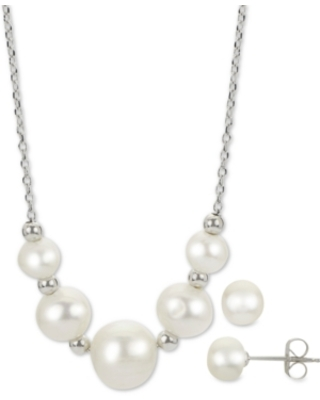 """2-Pc. Cultured Freshwater Pearl 18"""" Collar Necklace & Stud Earrings Set in Sterling Silver"""