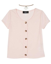Amy Byer Girls' Cap Sleeve Faux Button Front Top, Cabo Shell Pink, X-Large