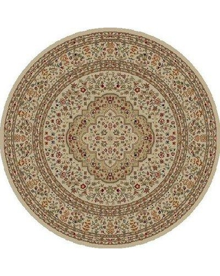 """Charlton Home® Bitner Oriental Flatweave Ivory/Red/Gray Area Rug, Polypropylene in Red/Gray/Silver, Size Round 7'10""""   Wayfair"""