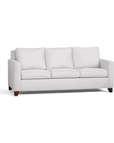 Cameron Square Arm Upholstered Sleeper Sofa, Polyester Wrapped Cushions, Twill White