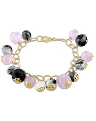 Tangelo Rose and Black Rutilated Quartz Rose-Plated Sterling Silver Charm Bracelet, 7""