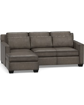 York Square Arm Leather Deep Seat Right Arm Sofa with Chaise Sectional with Bench Cushion, Polyester Wrapped Cushions, Leather Burnished Wolf Gray