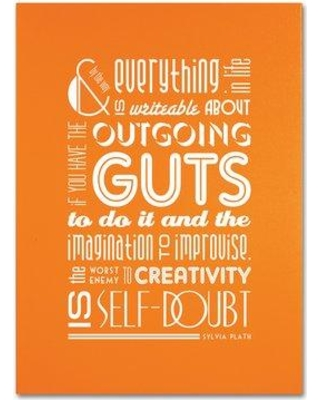 """Trademark Fine Art """"Outgoing Guts"""" by Megan Romo Textual Art on Wrapped Canvas MR0094-C Size: 32"""" H x 26"""" W x 2"""" D"""