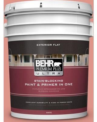 BEHR Premium Plus Ultra 5 gal. #bic-18 Fresh Watermelon Flat Exterior Paint and Primer in One