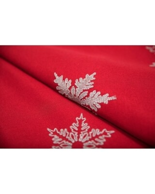 Glisten Snowflake Embroidered Christmas Tablecloth, 60 by 84-Inch, Red
