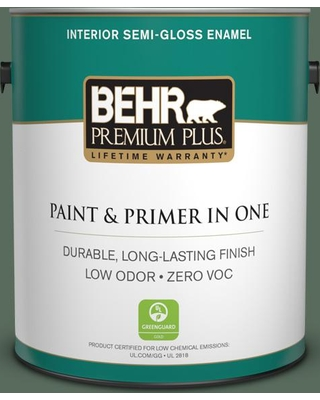 Deals On Behr Premium Plus 1 Gal 450f 6 Whispering Pine Semi Gloss Enamel Low Odor Interior Paint And Primer In One