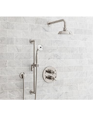 Ordinaire Reyes Thermostatic Cross Handle Hand Held Shower Faucet Set, Polished Nickel  Finish