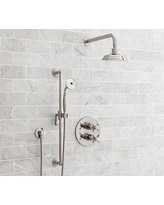 Reyes Thermostatic Cross-Handle Hand-Held Shower Faucet Set, Polished Nickel Finish