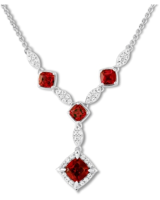 Lab-Created Ruby Necklace Lab-Created Sapphires Sterling Silver