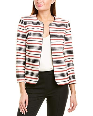 Anne Klein Women's Piped Collarless Jacket, Cinnamon Combo, 8