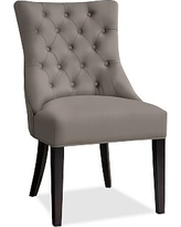 Hayes Tufted Dining Side Chair, Mahogany Frame, Performance Twill Metal Gray