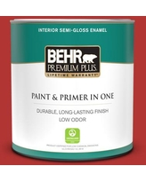Find Big Savings On Behr Premium Plus 1 Gal 170b 7 Red Tomato Satin Enamel Low Odor Interior Paint And Primer In One