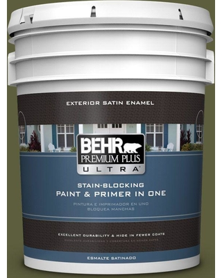 BEHR Premium Plus Ultra 5 gal. #PPU9-25 Eastern Bamboo Satin Enamel Exterior Paint and Primer in One