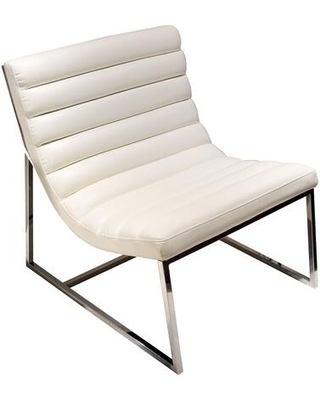 """Bardot BARDOTCHWH 27"""" Lounge Chair with Channel Tufted Design Sensuous Curves Stainless Steel Legs and Bonded Leather Upholstery in White"""