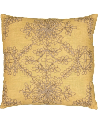 "Mustard Jute Embroidered Throw Pillow 18""x18"" - Rizzy Home, Yellow/Natural"
