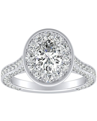 Auriya 2ctw Oval-cut Halo Diamond Engagement Ring Platinum (6.5)