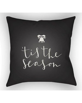 """The Holiday Aisle Tis the Season Indoor/Outdoor Throw Pillow HLDY1187 Size: 20"""" H x 20"""" W x 4"""" D, Color: White / Black"""