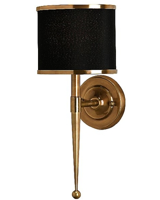 Currey & Company Primo Wall Sconce - Color: Black / Brass - Size: 1 light