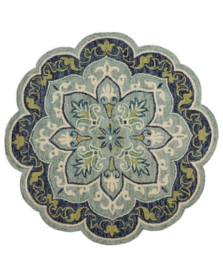 Rackley Floral Handmade Tufted Wool Teal Area Rug Charlton Home® Rug Size: Round 4'
