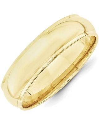 10 Karat Yellow Gold 6mm Half Round with Edge Band by Versil (14 - Traditional/Bands)