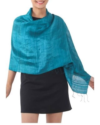 Handwoven Fringed Silk Shawl in Teal from Thailand