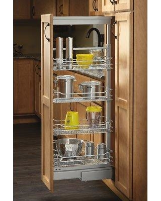 "Rev-A-Shelf 4-1/8 in. Chrome 4 Basket Pull-Out Pantry with Soft-Close Slides 5743-04-CR-1 Size: 51"" H x 8"" W x 21.62"" D"