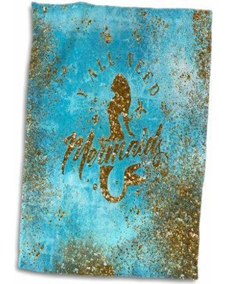 East Urban Home Chasity We all need Glitter Saying and Mermaid Illustration Hand Towel W001286046
