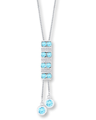 Jared The Galleria Of Jewelry Blue Topaz Bolo Necklace 1/15 ct tw Diamonds Sterling Silver