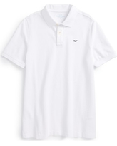 Boy's Vineyard Vines Classic Pique Cotton Polo, Size L (16) - White